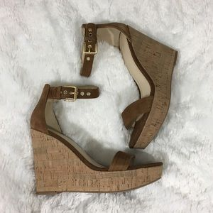 🆕Marc Fisher Suede Ankle Strap Wedge Sandals NWOB